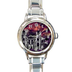 Fantasy Tropical Cityscape Aerial View Round Italian Charm Watch