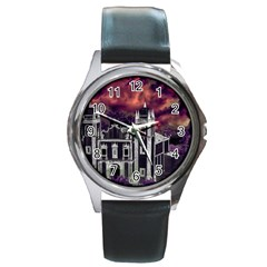 Fantasy Tropical Cityscape Aerial View Round Metal Watch