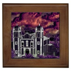 Fantasy Tropical Cityscape Aerial View Framed Tiles