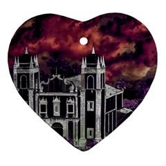 Fantasy Tropical Cityscape Aerial View Ornament (Heart)