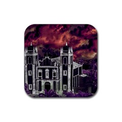 Fantasy Tropical Cityscape Aerial View Rubber Coaster (Square)