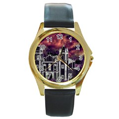 Fantasy Tropical Cityscape Aerial View Round Gold Metal Watch