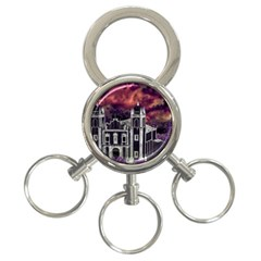 Fantasy Tropical Cityscape Aerial View 3-Ring Key Chains