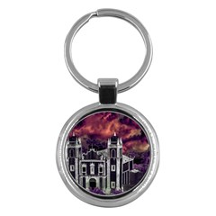 Fantasy Tropical Cityscape Aerial View Key Chains (Round)