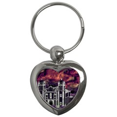 Fantasy Tropical Cityscape Aerial View Key Chains (Heart)