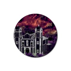 Fantasy Tropical Cityscape Aerial View Rubber Round Coaster (4 pack)