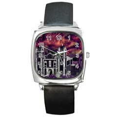 Fantasy Tropical Cityscape Aerial View Square Metal Watch