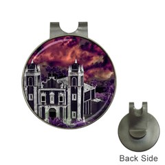 Fantasy Tropical Cityscape Aerial View Hat Clips with Golf Markers