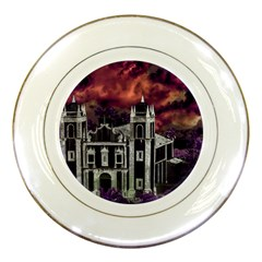 Fantasy Tropical Cityscape Aerial View Porcelain Plates