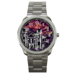 Fantasy Tropical Cityscape Aerial View Sport Metal Watch