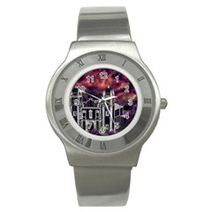 Fantasy Tropical Cityscape Aerial View Stainless Steel Watch