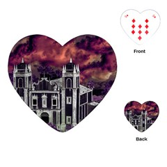 Fantasy Tropical Cityscape Aerial View Playing Cards (Heart)