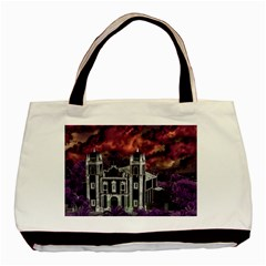 Fantasy Tropical Cityscape Aerial View Basic Tote Bag