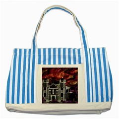 Fantasy Tropical Cityscape Aerial View Striped Blue Tote Bag