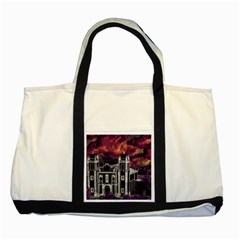 Fantasy Tropical Cityscape Aerial View Two Tone Tote Bag