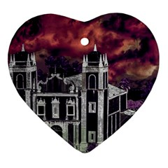 Fantasy Tropical Cityscape Aerial View Heart Ornament (2 Sides)