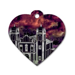 Fantasy Tropical Cityscape Aerial View Dog Tag Heart (Two Sides)