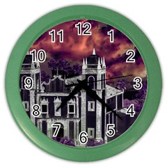 Fantasy Tropical Cityscape Aerial View Color Wall Clocks