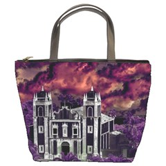 Fantasy Tropical Cityscape Aerial View Bucket Bags