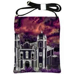 Fantasy Tropical Cityscape Aerial View Shoulder Sling Bags
