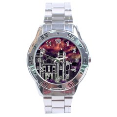 Fantasy Tropical Cityscape Aerial View Stainless Steel Analogue Watch
