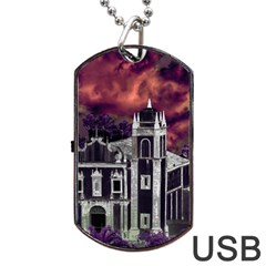 Fantasy Tropical Cityscape Aerial View Dog Tag USB Flash (One Side)