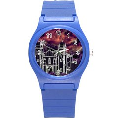 Fantasy Tropical Cityscape Aerial View Round Plastic Sport Watch (S)