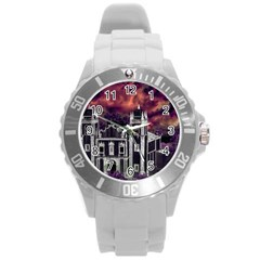Fantasy Tropical Cityscape Aerial View Round Plastic Sport Watch (L)