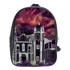Fantasy Tropical Cityscape Aerial View School Bags (XL)