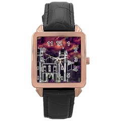 Fantasy Tropical Cityscape Aerial View Rose Gold Leather Watch