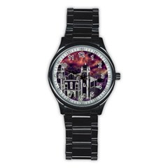 Fantasy Tropical Cityscape Aerial View Stainless Steel Round Watch
