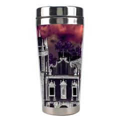 Fantasy Tropical Cityscape Aerial View Stainless Steel Travel Tumblers