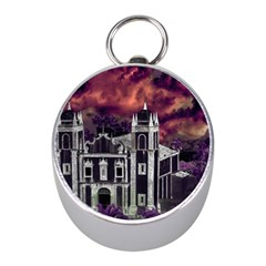 Fantasy Tropical Cityscape Aerial View Mini Silver Compasses