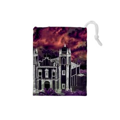 Fantasy Tropical Cityscape Aerial View Drawstring Pouches (Small)