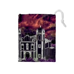 Fantasy Tropical Cityscape Aerial View Drawstring Pouches (Medium)