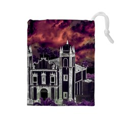 Fantasy Tropical Cityscape Aerial View Drawstring Pouches (Large)