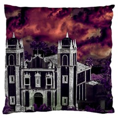 Fantasy Tropical Cityscape Aerial View Large Flano Cushion Case (One Side)