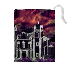 Fantasy Tropical Cityscape Aerial View Drawstring Pouches (Extra Large)