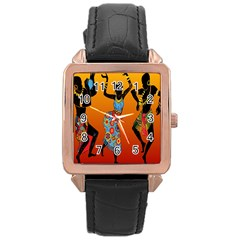 Dancing Rose Gold Leather Watch