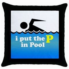 Funny Swiming Water Throw Pillow Case (Black)
