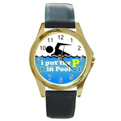 Funny Swiming Water Round Gold Metal Watch