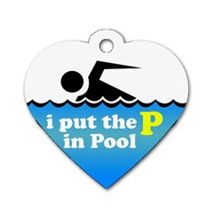Funny Swiming Water Dog Tag Heart (One Side)