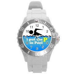 Funny Swiming Water Round Plastic Sport Watch (L)
