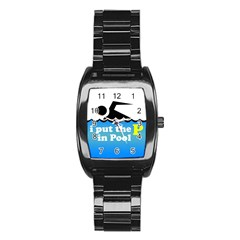 Funny Swiming Water Stainless Steel Barrel Watch