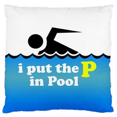 Funny Swiming Water Large Flano Cushion Case (One Side)