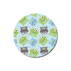 Frog Green Rubber Round Coaster (4 pack)