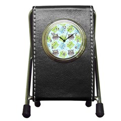 Frog Green Pen Holder Desk Clocks