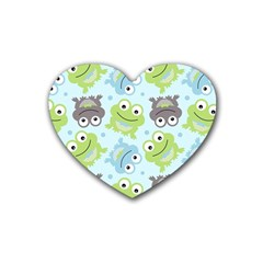 Frog Green Rubber Coaster (Heart)