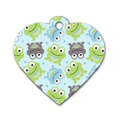 Frog Green Dog Tag Heart (One Side)
