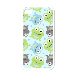 Frog Green Apple iPhone 4 Case (White)